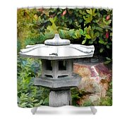 Japanese Garden Stone Snow Lantern Shower Curtain