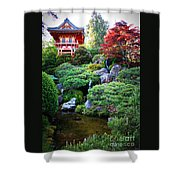 Japanese Garden With Pagoda And Pond Shower Curtain