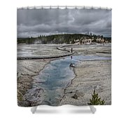 Japanese Woman With Umbrella At Norris Geyser Basin Shower Curtain