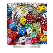 Jar Spilling Dice Shower Curtain by Garry Gay