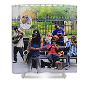 Jazz Band At Jackson Square Shower Curtain by Bill Cannon