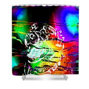 Jazzy Smiling Black Lab Shower Curtain