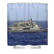 Jds Atago Sails In Formation With U.s Shower Curtain