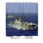 Jds Hyuga Sails In Formation With U.s Shower Curtain