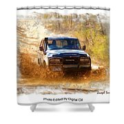 Jeep In The Mud Edited Shower Curtain