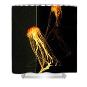 Jellyfish In Dark Shower Curtain