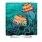 Jellyfish In Green Water Shower Curtain
