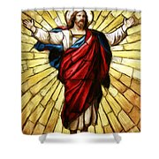 Jesus Christ Stained Glass Shower Curtain