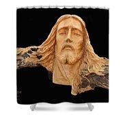 Jesus Christ Wooden Sculpture -  Four Shower Curtain