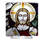 Jesus Close Up Stained Glass Shower Curtain