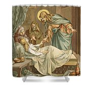 Jesus Raising Jairus's Daughter Shower Curtain