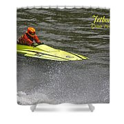 Jetboat In A Race At Grants Pass Boatnik With Text Shower Curtain