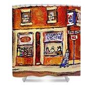 Jewish Montreal Vintage City Scenes Hutchison Street Butcher Shop  Shower Curtain