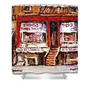 Jewish Montreal Vintage City Scenes Indigs Kosher Butcher Shower Curtain