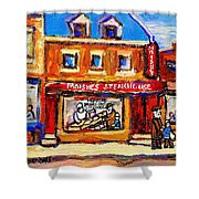 Jewish Montreal Vintage City Scenes Moishes St. Lawrence Street Shower Curtain