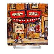 Jewish Montreal Vintage City Scenes Schwartzs Original Hebrew Deli Shower Curtain
