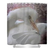 Joelle's Egret Shower Curtain