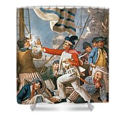 John Paul Jones Shooting A Sailor Who Had Attempted To Strike His Colours In An Engagement Shower Curtain