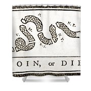 Join Or Die French And Indian War Shower Curtain by Photo Researchers