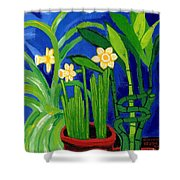 Jonquils And Bamboo Plant Shower Curtain