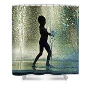 Joyful Child In The Water Fountain Shower Curtain