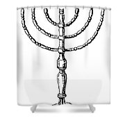 Judaism: Menorah Shower Curtain