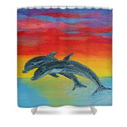 Jumping Dolphins Left Shower Curtain
