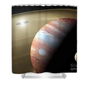 Jupiter And Moon Shower Curtain