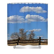Kansas Country Wooden Fence With Blue Sky And Cloud's Shower Curtain