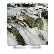Kayaker At The Top Of A Waterfall Shower Curtain