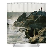 Kayaker Carries Boat Up The Rocks Shower Curtain
