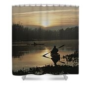 Kayakers Paddle Through Still Water Shower Curtain