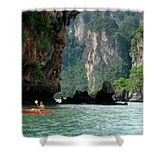 Kayaking In Thailand Shower Curtain