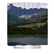 Kayaks On Swiftcurrent Lake Shower Curtain