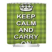 Keep Calm And Carry On Poster Print Green Plaid Background Shower Curtain