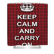 Keep Calm And Carry On Poster Print Red Black Stripes Background Shower Curtain