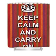 Keep Calm And Carry On Poster Print Red Purple Stripe Background Shower Curtain