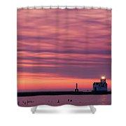 Kewaunee Lighthouse At Sunrise Shower Curtain