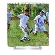 Kicking Soccer Ball Shower Curtain