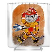 Kids Art Firedog Firefighter  Shower Curtain
