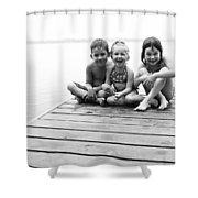 Kids Sitting On Dock Shower Curtain