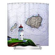 Kilauea Point Lighthouse On Noaa Chart Shower Curtain