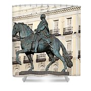 King Charles IIi Statue On Puerta Del Sol Shower Curtain