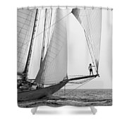 king of the world - a classic sailboat with all sails plying the sea on the island of Menorca Shower Curtain