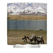 Kirghiz Nomad Leads Bactrian Camels Shower Curtain