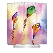 Kite Rockets Shower Curtain by Lydia Irving