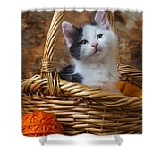 Kitten In Basket With Orange Yarn Shower Curtain