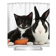Kitten, Rabbit And Carrot Shower Curtain