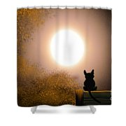 Kitty And The Moon Shower Curtain