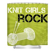 Knit Girls Rock Shower Curtain by Linda Woods